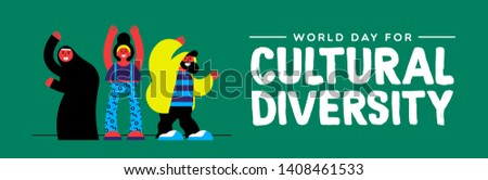 Cultural Diversity Day web banner illustration. Happy friend group of diverse ethnic people.