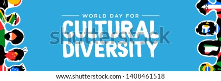 Cultural Diversity Day web banner illustration. Social group with diverse international country flags. Includes people from asia, america, europe and africa.