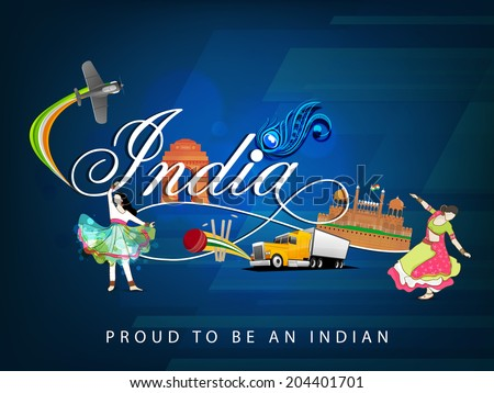 Cultural view of Republic of India with famous monuments traditional dance and transportation and sports on floral decorated blue background