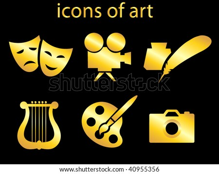 Culture and art set of icons vector illustration stock vector