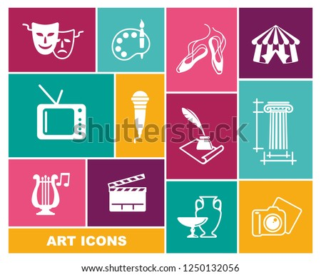 Culture and Art vector icons in flat style. Vector illustration