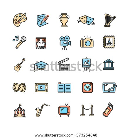 Culture and Creative Fine Art Color Icons Set Element Design for Web. Vector illustration