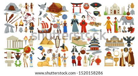 Culture and symbols of Greek and Japanese, Chinese and Antiquity vector. Cave and tools used in ancient ages. Architecture of china and india. Drakkars and vikings times. Taj mahal and torru gate Stock photo ©
