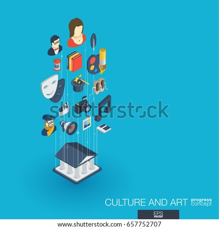 Culture, art integrated 3d web icons. Digital network isometric progress concept. Connected graphic design line growth system. Background for theater artist, music, circus show bill. Vector Infograph