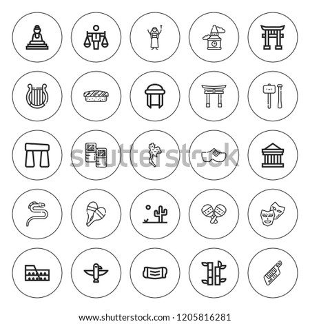 culture icon set collection of