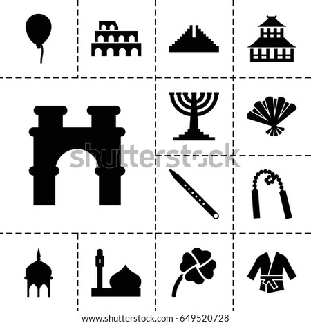 culture icon set of 13 filled
