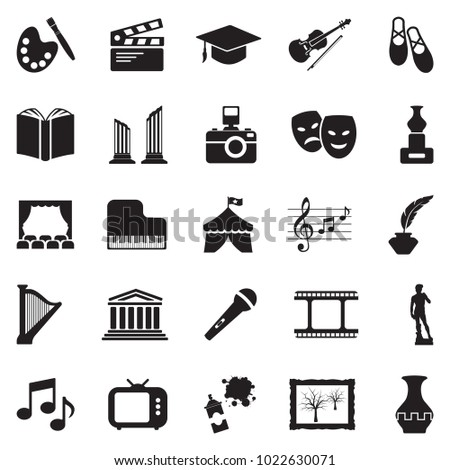 Culture Icons. Black Flat Design. Vector Illustration.