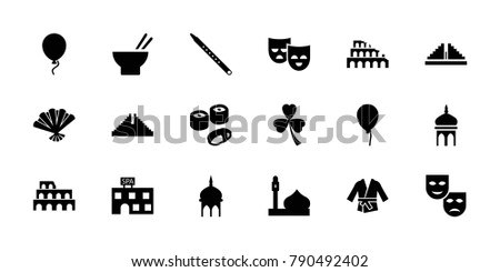 culture icons set of 18