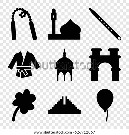 culture icons set set of 9