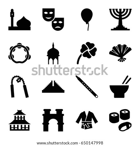 culture icons set set of 16