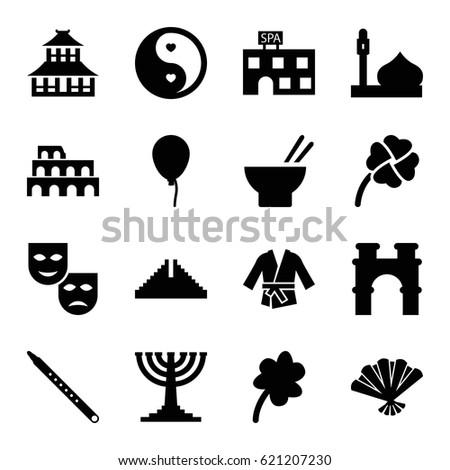culture icons set set of 16