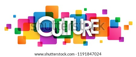 CULTURE letters banner on colorful squares