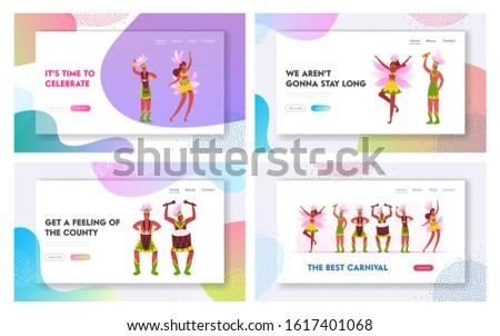 Culture Performance with Drums and Samba Dancers Website Landing Page Set. Talented Musicians and Dancing Girls Characters Performing on Rio Carnival Web Page Banner. Cartoon Flat Vector Illustration