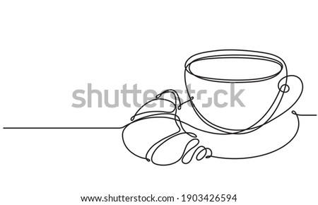Cup and croissant. Coffee, tea. Vector sketch. Continuous line drawing. Hot drink and pastries Foto stock ©