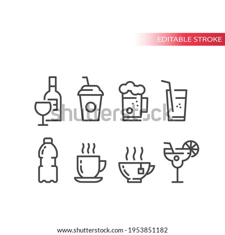 Cup and glass for cocktail, coffee and beer icon set. Wine bottle, glasses, water bottle line vector icons. Editable stroke. Сток-фото ©