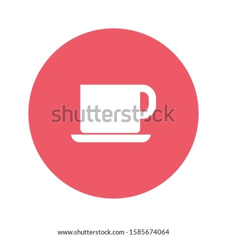 Cup and saucer. Simple vector icon. Symbolizes tea drinking, drinking coffee and other drinks. Or a lunch break. Mug on a saucer.
