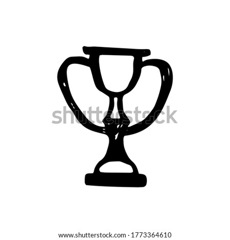 Cup, Award - School Doodle Illustration. reward for winning the competition. education symbol. sport
