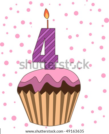 cup cake with numeral candles