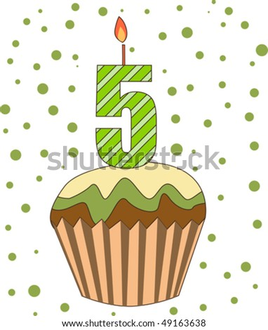 cup cake with numeral candles isolated on white