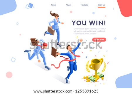 Cup challenge reward, top prize goal on a financial competition. Infographic, winner growth and celebration. Hero images, web banner, flat isometric vector illustration isolated on white background Stockfoto ©