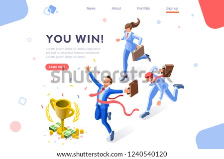 Cup challenge reward, top prize, happy target images. Luck on competition, financial event, fortune and victory for the growth. Winner with coins and employees. Flat isometric vector illustration. Stockfoto ©