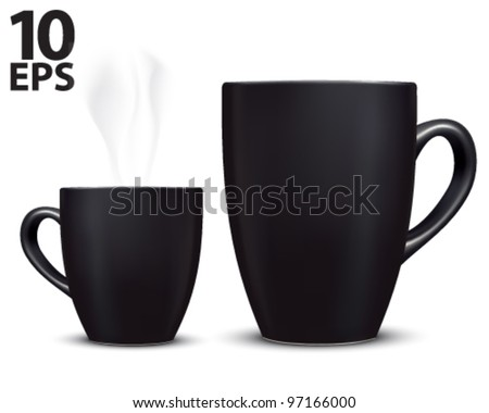 Cup coffee isolated on white. Vector illustration
