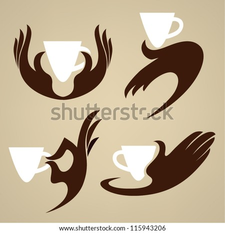 cup in your hands, coffee and tea, vector  collection