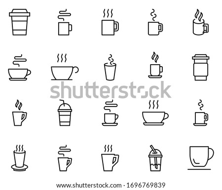 Cup line icon set. Collection of vector symbol in trendy flat style on white background. Cup sings for design.