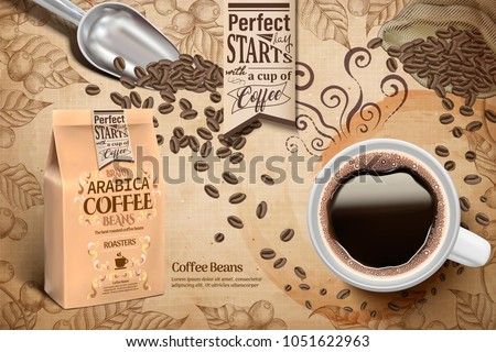 Cup of black coffee and paper bag package in 3d illustration, retro engraving coffee plants elements