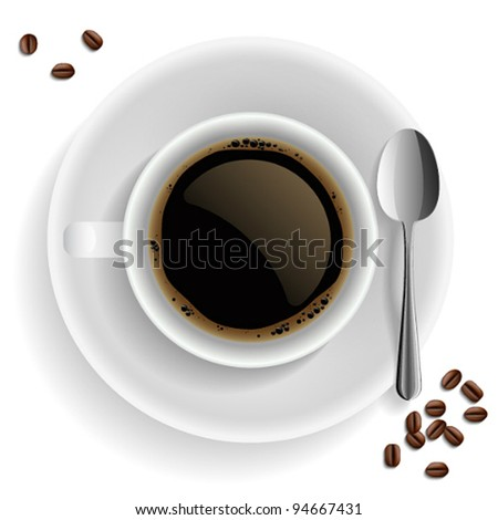Cup of black coffee with coffee grain and spoon. On white background.