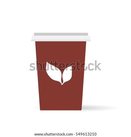 cup of  black tea flat vector