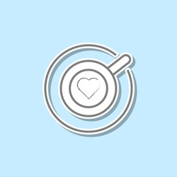 Cup of cappuccino with heart sticker icon. Simple thin line, outline vector of web icons for ui and ux, website or mobile application