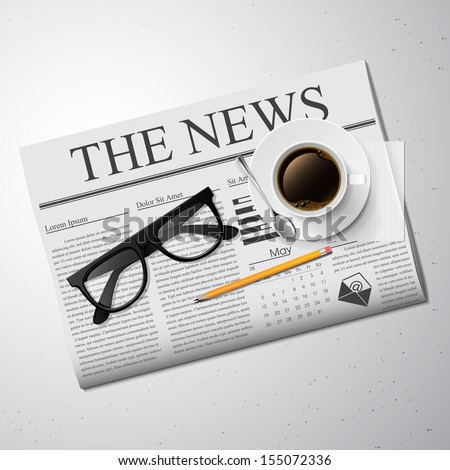 Cup of coffee newspaper and glasses Detailed vector illustration