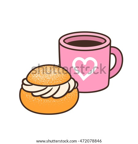 cup of coffee or tea and semla