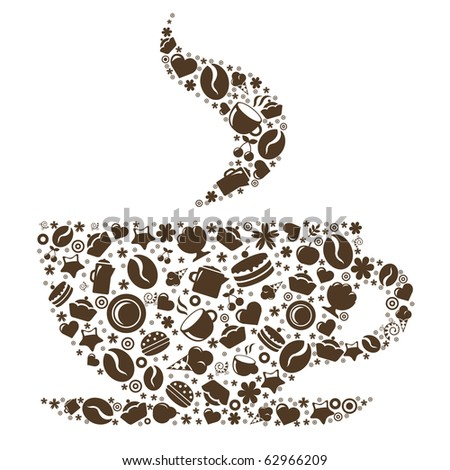 Cup Of Coffee, Stylized Image, Isolated On White Background, Vector Illustration - stock vector