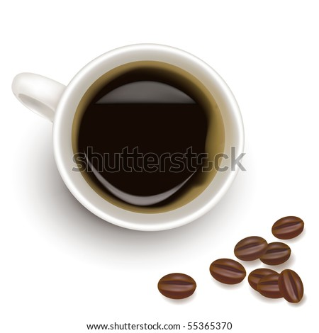 Cup of coffee with coffee grain. Photo-realistic vector.