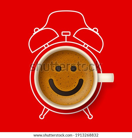 Cup of coffee with happy smiling face on frothy surface, with silhouette of alarm clock on background. Time to have a coffee break, relax and cheer up, coffee time concept