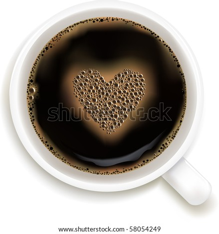 Cup Of Coffee With Heart Image, Isolated On White Background, Vector Illustration