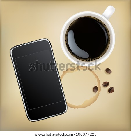 Cup Of Coffee With Mobile Phone, Vector Illustration