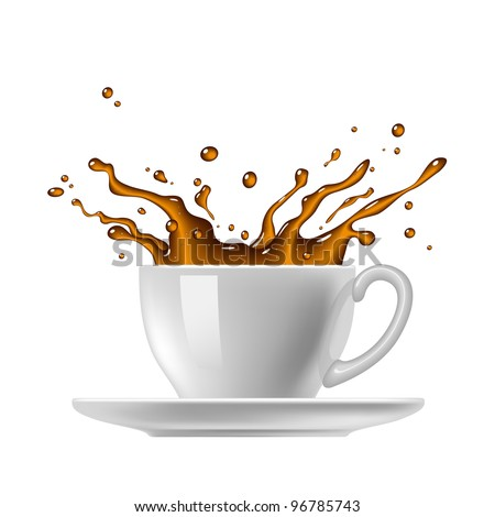 Cup of coffee with splash. Vector drawing.