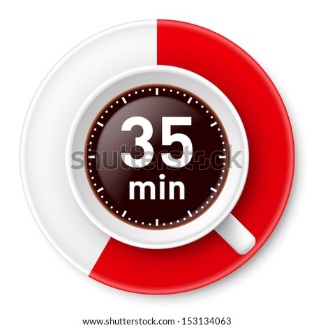 Cup of coffee with time limit for break: thirty-five minutes. Illustration on white background.