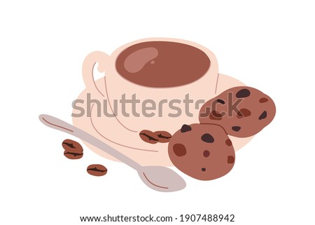 Cup of fresh brewed hot drink served with whole coffee beans, handmade chocolate cookies or biscuits. Tasty sweet breakfast or dessert. Flat vector illustration isolated on white background Photo stock ©