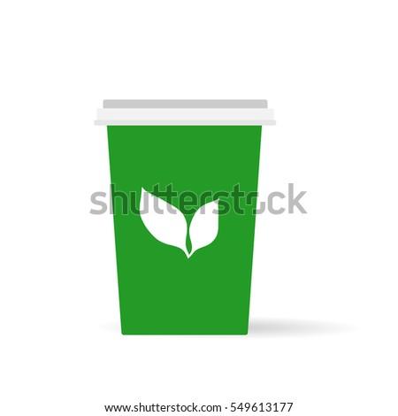 cup of  green tea flat vector
