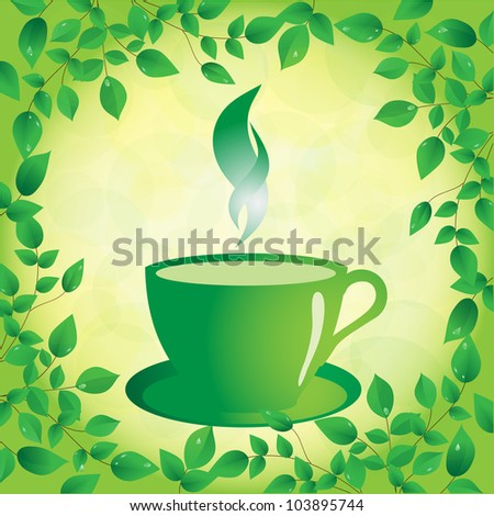 cup of green tea on a sunny background, vector