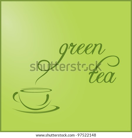 Cup of green Tea with the title