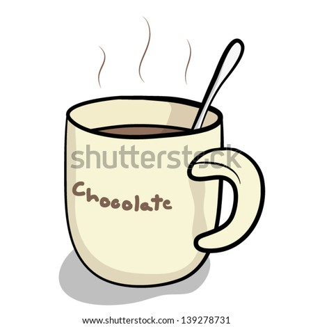 cup of hot chocolate and spoon