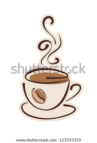 Cup of hot coffee and coffee bean. Vector eps10 illustration. Raster file included in portfolio