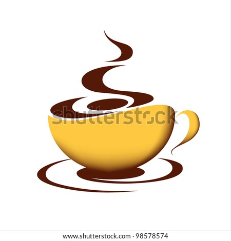 Cup of hot coffee on white background - stock vector
