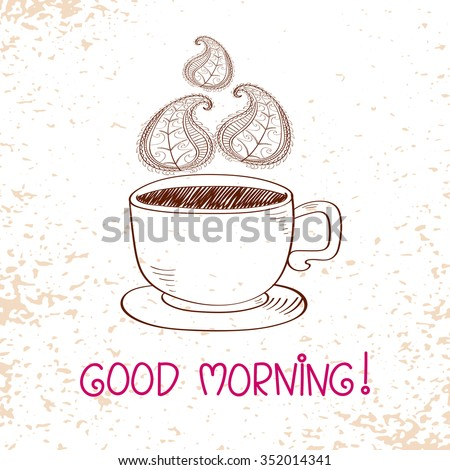 Cup of hot coffee with Paisley steam. Doodle vector illustration.