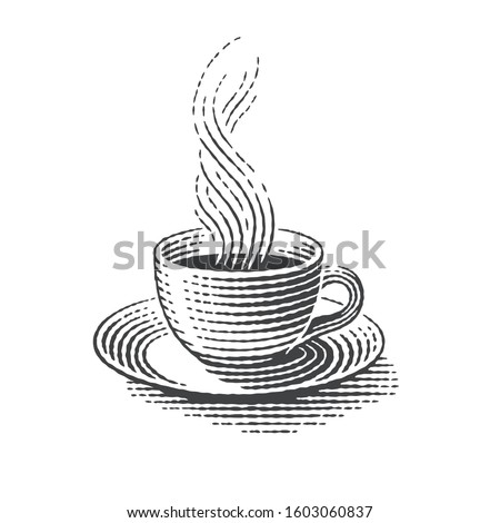Cup of hot drink. Hand drawn engraving style illustrations.